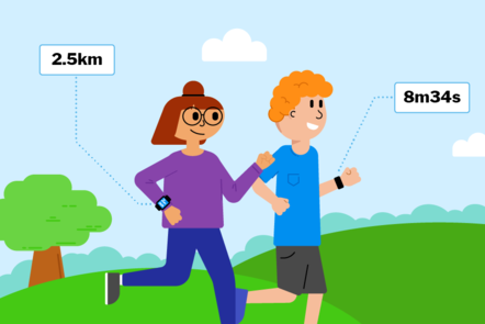 An illustration of a person exercising wearing a fitness tracker, using a smartphone to check the weather and a computer