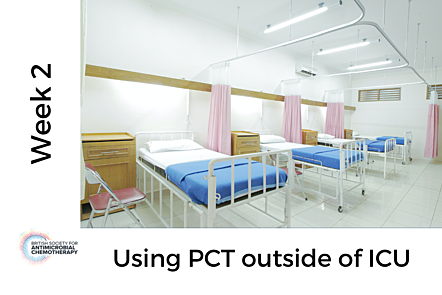 Photo of hospital beds, with text 'Week 2 - Using PCT outside of ICU'