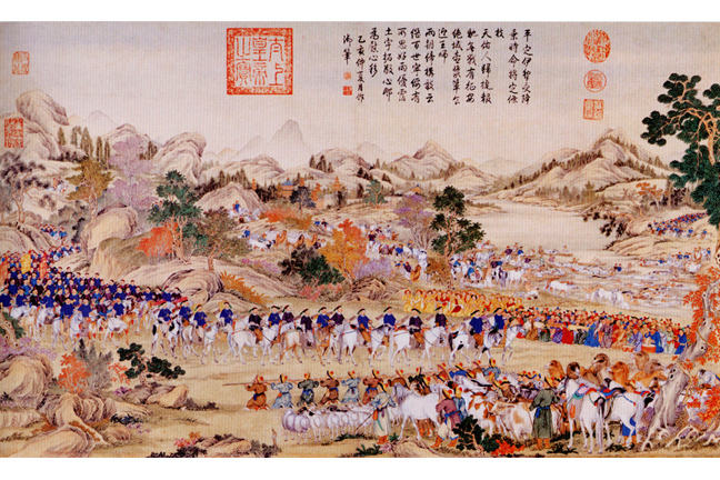 """Receiving the surrender of the Ili"". Marching during the spring, the Chinese army reaches Kouldja on the Ili river without opposition, 1755"
