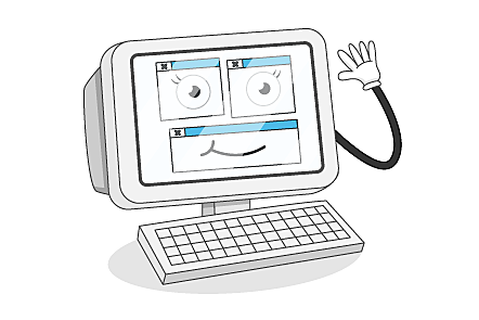 A cartoon illustration of a computer character waving