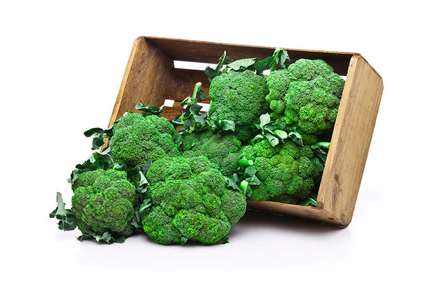 Broccoli in a wooden crate