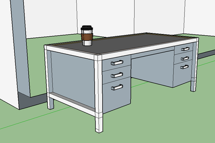 Desk drawn in Google Sketchup