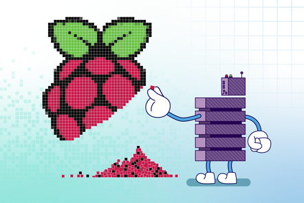 A server character assembling a Raspberry Pi logo from a pile of pixels