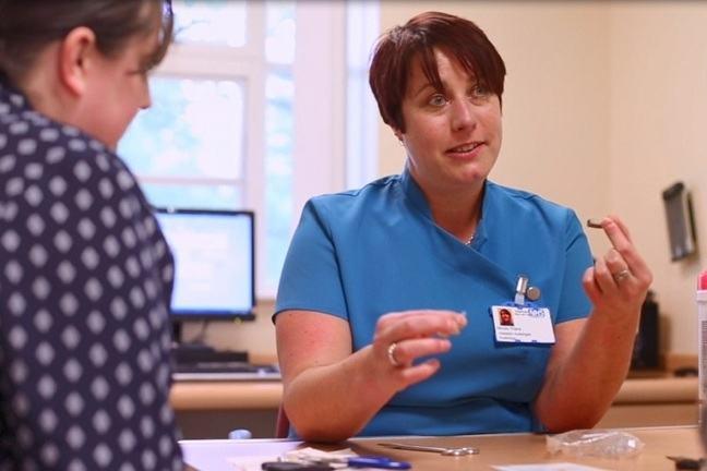 Patient's talking to healthcare worker