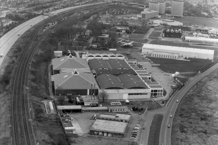 An early black and white shot of the RAF Museum at Hendon.