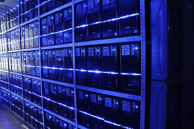 A rack of servers in a large server farm