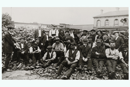 A rare posed image of navvies taking a break from work c1904.