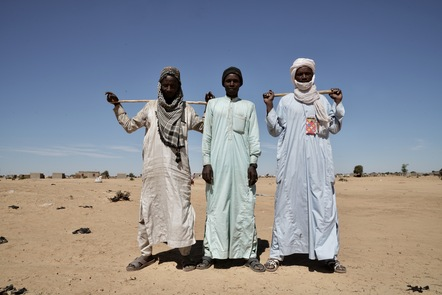 Fulani men from northern Nigeria stand in the Awaradi refugee camp in eastern Niger.