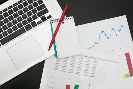 Data resources (laptop, charts and pad) (image: ©Shutterstock)