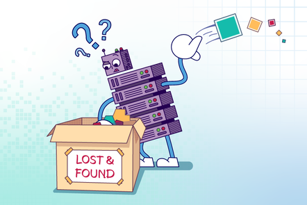 "A server character searching for data in a box labelled ""LOST & FOUND""."