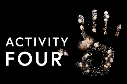 A handprint with the text stating activity 4