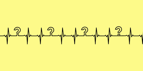 illustration of a pulse with question marks