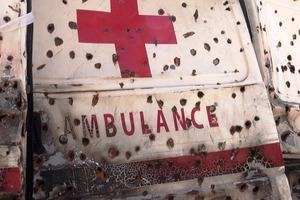 Bullet riddled Red Cross ambulance