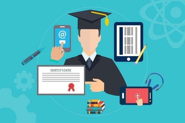 Infographic with a graduate in the middle pointing to a degree certificate with technology in the background.