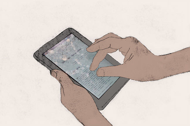 Hand zooming in on a tablet screen