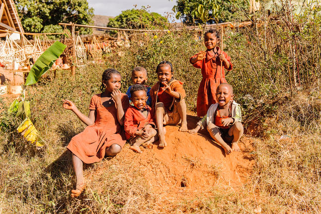 Madagascar children play in the street