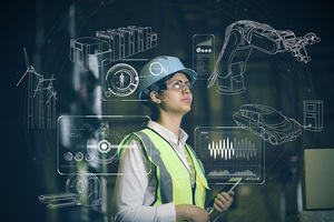 An engineer in hard hat, overlaid by technical drawings