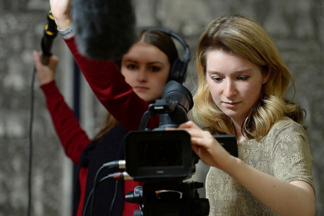 Students making a film