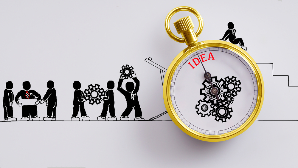 People carrying the workings of a clock towards an idea
