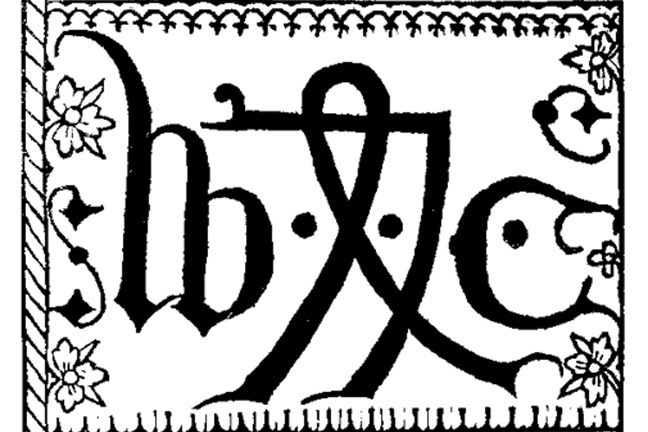 William Caxton's printer's mark (styled initials in black)
