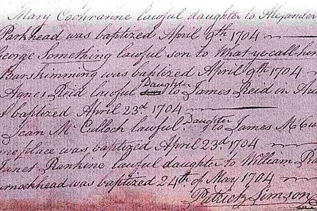 Baptismal record from 1704
