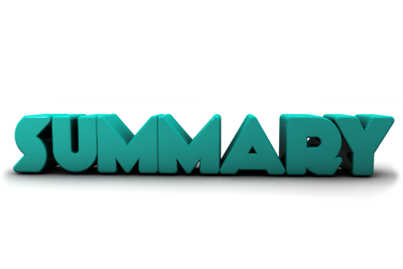 Summary in 3D lettering