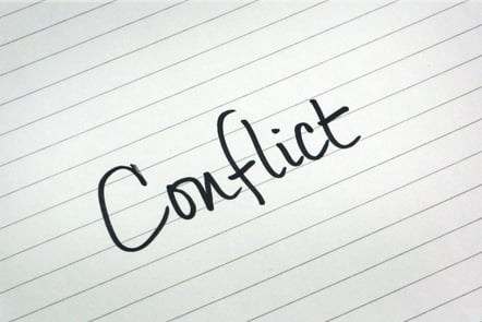 A page with the word 'Conflict' written down.