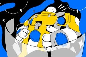 Cartoon graphic man in a spacesuit