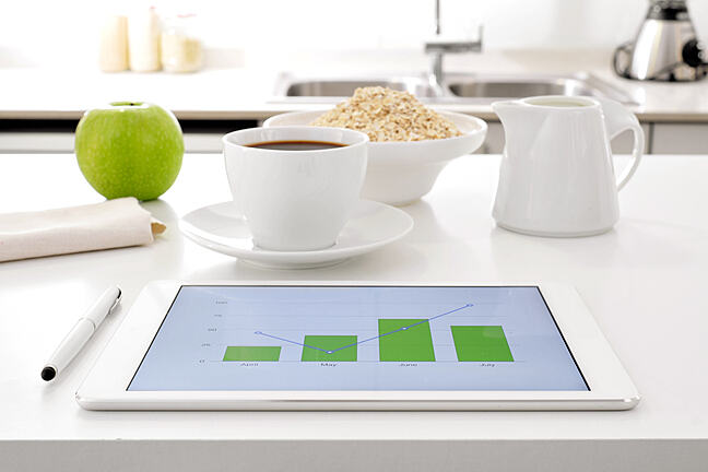 Tablet with graph displayed.