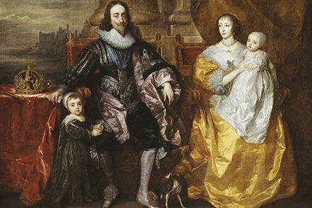 A painting of Charles I, wearing the blue sash of the Order of the Garter around his neck and a ruff, and his family sitting down.