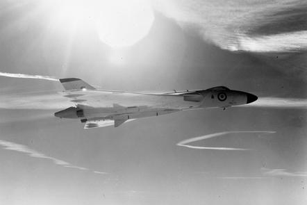 A Vulcan in flight carrying a Blue Streak nuclear missile