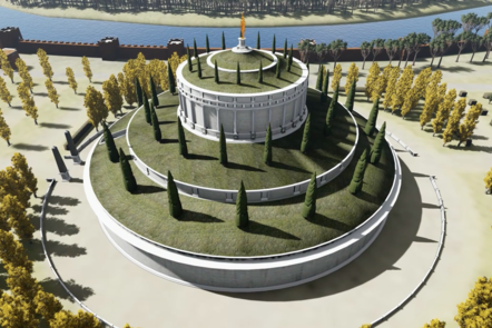 A digital recreation of the mausoleum of Augustus. A round building with a bronze statue of Augustus on the top
