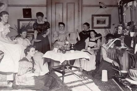 Early students taking tea at Royal Holloway.
