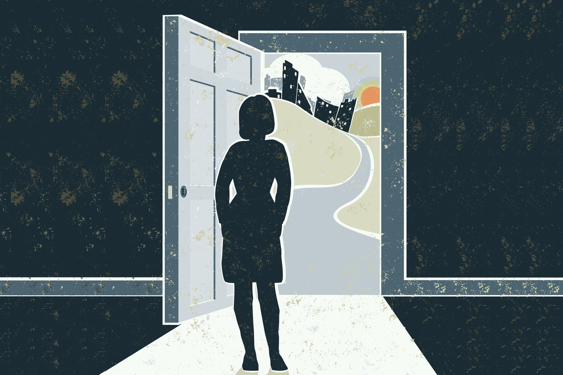 A woman stands at an open doorway with the world visible outside.