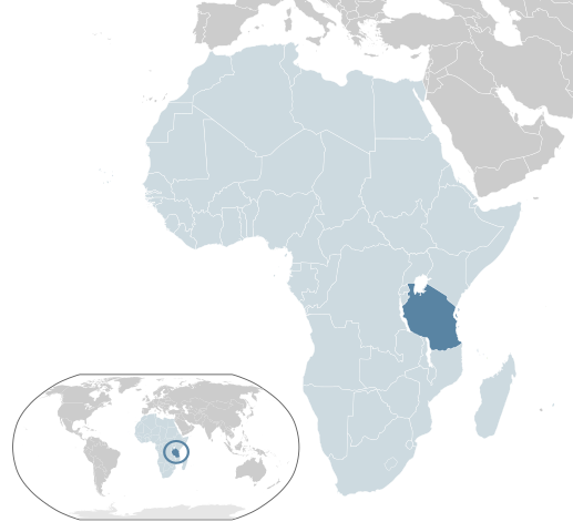 Map of Africa showing location of Tanzania on the southern eastern coast between Kenya and Mozambique.