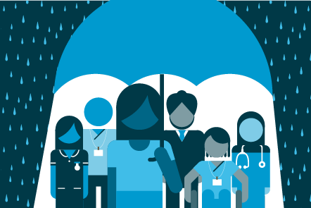 Illustration of a diverse group of healthcare workers, from all different professions and levels, all sheltered from the rain underneath an umbrella.