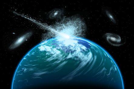 Depiction of meteorite hitting an alien planet