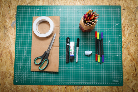 Image of cardboard and craft supplies for prototyping