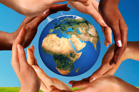 Conceptual peace and cultural diversity symbol of multiracial hands making a circle together around the world the Earth globe.