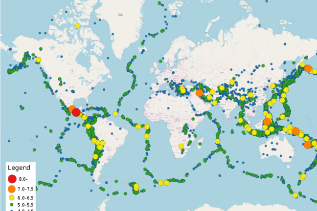 A world map with dots of different colours highlighting where earthquakes occurred and their size as denoted by colour.