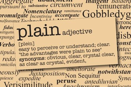 background shows a page of a dictionary, with the word 'plain' and its definition in the foreground. The definition says 'easy to perceive or understand; clear'