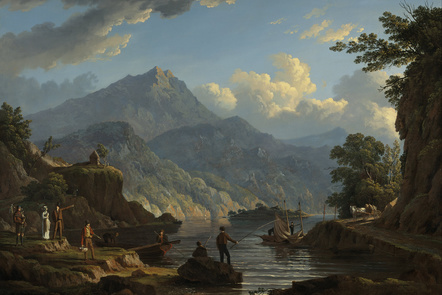 View of Loch Katrine and mountains behind, with men fishing, men on boats, a piper and tourists enjoying the view