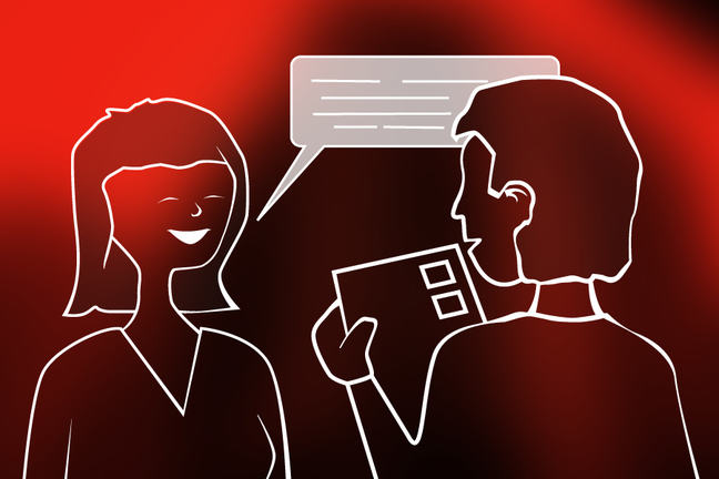 2 people conversing