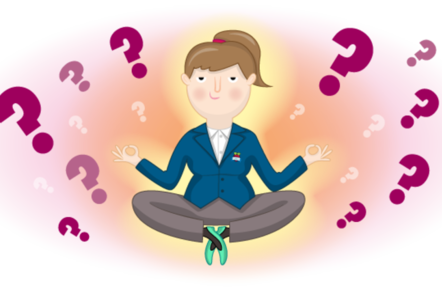 A teacher sittting in the zen position in quiet reflection, surrounded by question marks