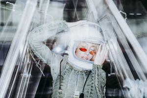 Fashion model wearing a futuristic flight suit