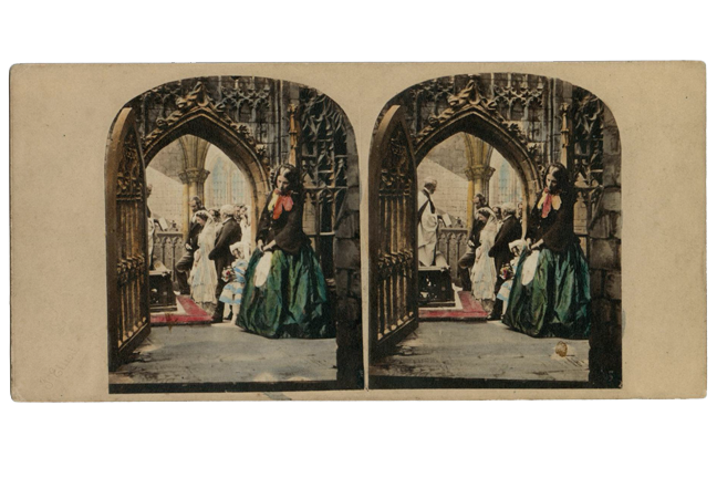 Stereocard depicting a woman, hiding in an aisle of a church with head bowed as, in the background, her former lover is married at the altar.