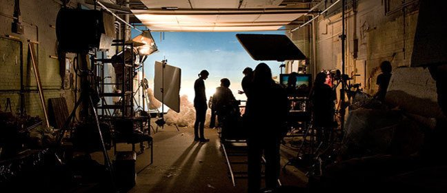 Production crew at work on one of the NFTS soundstages