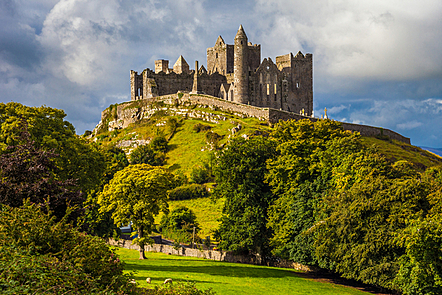 The Rock of Cashel, County Tipperary, Ireland.  A ruined castle on a hill.