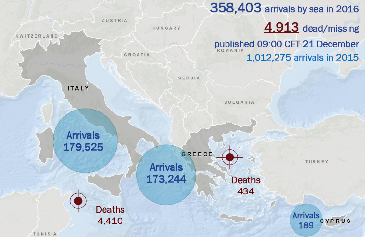 This map of the Mediterranean Sea provides statistics on irregular arrivals and migrant deaths in 2016