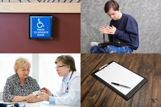 A collage of images. A button to open a door, a boy with an intellectual disability using augmentative communication, a clipboard, and a doctor explaining medication to an older woman.